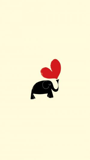 Cute Little Dark Elephant Red Love Heart Drawn Art iPhone 8 wallpaper