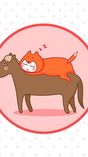 Funny Cat and Horse Sleeping iPhone 8 wallpaper