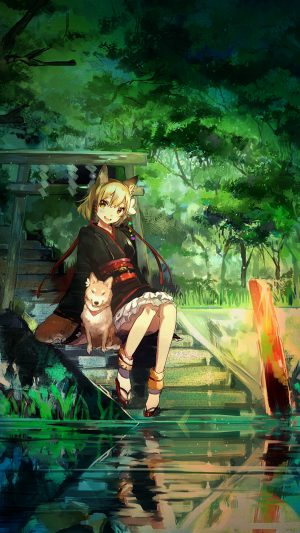 Girl And Dog Green Nature Anime Art iPhone 8 wallpaper