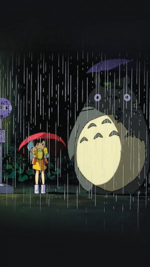 My Neighbor Totoro Art Illust Rain Anime iPhone 8 wallpaper