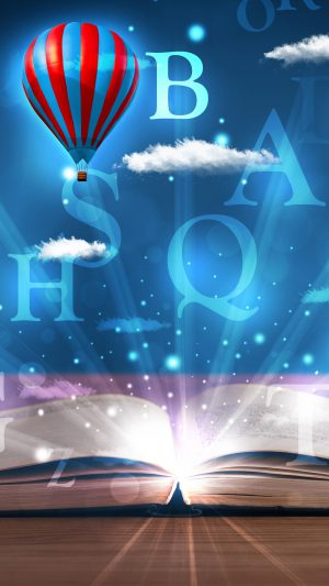 Open book with glowing fantasy abstract clouds and balloons iPhone 8 wallpaper