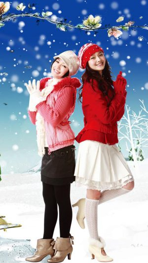 Christmas Girls iPhone 8 wallpaper