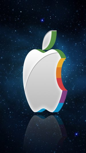 3D Apple Logo In Space iPhone 8 wallpaper