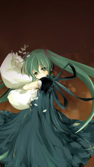 Anime Art Hasune Miku Sleepy Illust iPhone 8 wallpaper