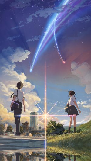 Anime Film Yourname Sky Illustration Art iPhone 8 wallpaper