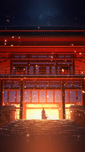 Anime Painting Temple Red Art Illustration iPhone 8 wallpaper