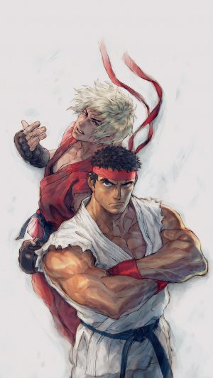Anime Street Fighters Ryu Ken Art Illust iPhone 8 wallpaper