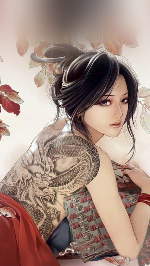 Anime Tatoo Girl Illustration iPhone 8 wallpaper