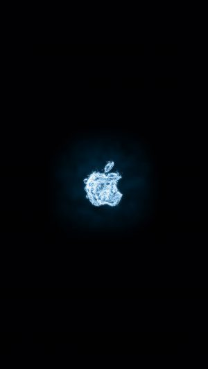 Apple Logo Dark Water Blue Art Illustration iPhone 8 wallpaper