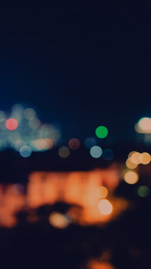 Bokeh City Night Light Art Blue Pattern Dark iPhone 8 wallpaper