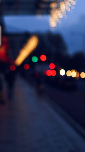 Bokeh Street Lights City Art Blue iPhone 8 wallpaper