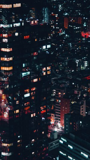 City Night Lights Building Pattern Red iPhone 8 wallpaper
