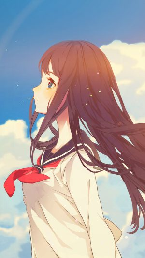 Cute Girl Illustration Anime Sky Flare iPhone 8 wallpaper