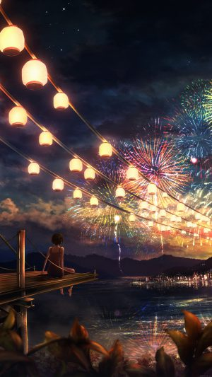 Firework Girl Dark Night Anime Art Illust iPhone 8 wallpaper