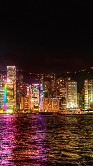 Hongkong Night Symposium Of Light iPhone 8 wallpaper