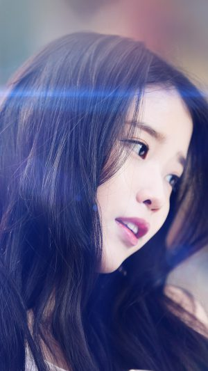 Iu Kpop Beauty Girl Singer Blue Flare iPhone 8 wallpaper