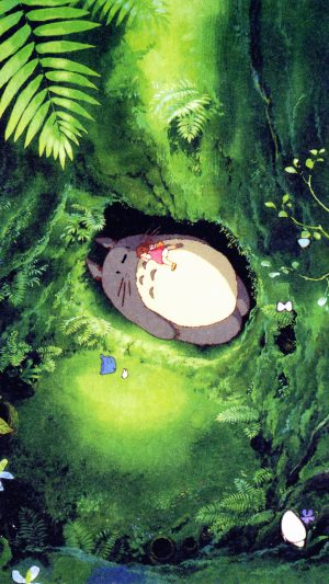 Japan Totoro Art Green Anime Illustration iPhone 8 wallpaper