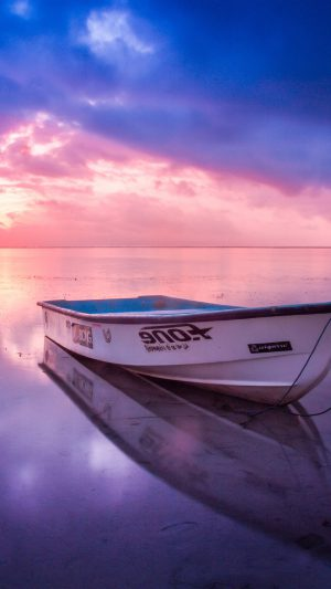Nature Sea Beach Boat Alone Sunset Blue Pink iPhone 8 wallpaper