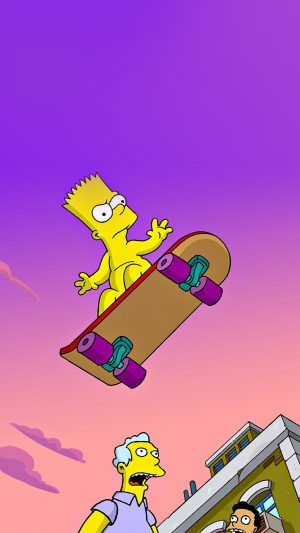 Simpson Anime Cartoon Bart Nude Art Illustration iPhone 8 wallpaper