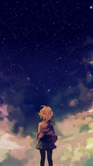 Starry Space Illust Anime Girl iPhone 8 wallpaper