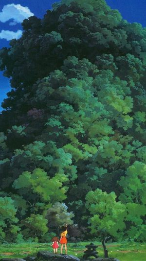 Studio Ghibli Tree Green Art Illustration Love Anime iPhone 8 wallpaper