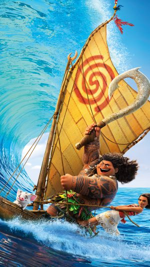 Surf Moana Disney Film Anime Illustration Art iPhone 8 wallpaper