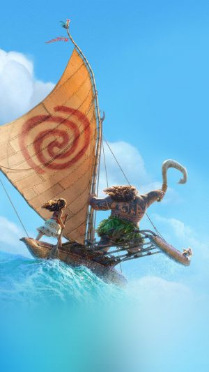 Surf Moana Disney Film Anime Summer Sea Illustration Art iPhone 8 wallpaper