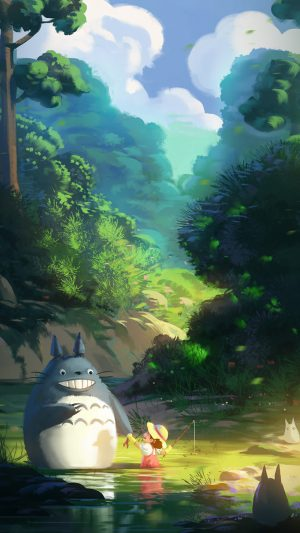 Totoro Anime Liang Xing Illustration Art iPhone 8 wallpaper