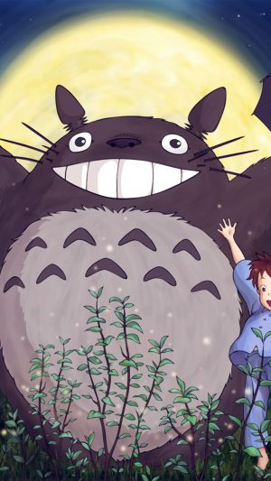 Totoro Forest Anime Cute Illustration Art Blue iPhone 8 wallpaper