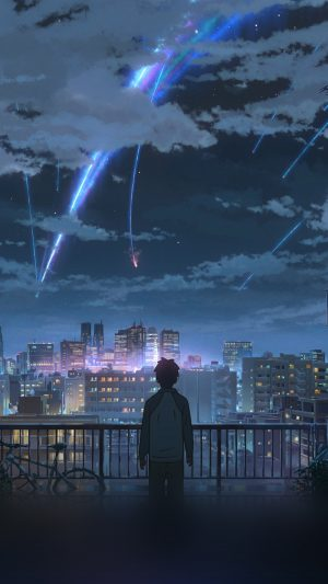 Yourname Night Anime Sky Illustration Art iPhone 8 wallpaper