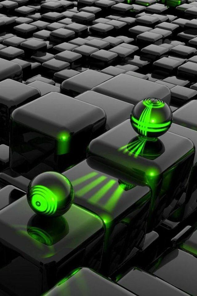 3D Cubes And 3D Green Laser iPhone 8 wallpaper - iPhone8wallpapers.com