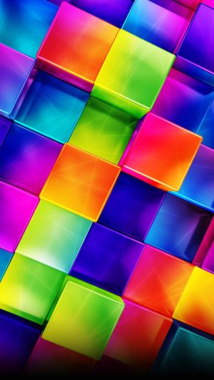 3D Geometric Colorful iPhone 8 wallpaper