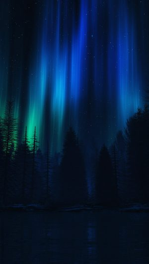 Aurora Night Sky Dark Blue Nature Art iPhone 8 wallpaper