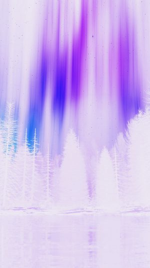 Aurora Night Sky White Purple Nature Art iPhone 8 wallpaper