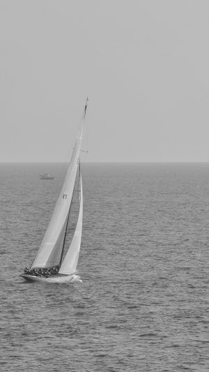 Boat Dark Bw Sea Ocean Nature iPhone 8 wallpaper