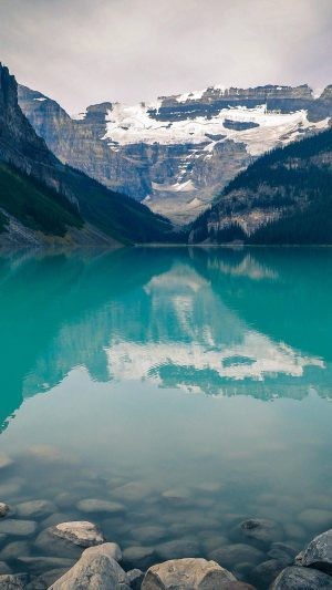 Canada Lake Louise Green Water Nature iPhone 8 wallpaper