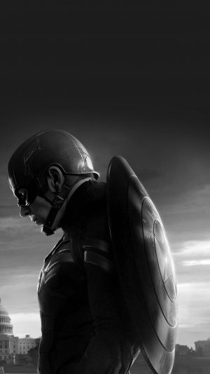 Captain America Sad Hero Film Marvel Dark Bw iPhone 8 wallpaper