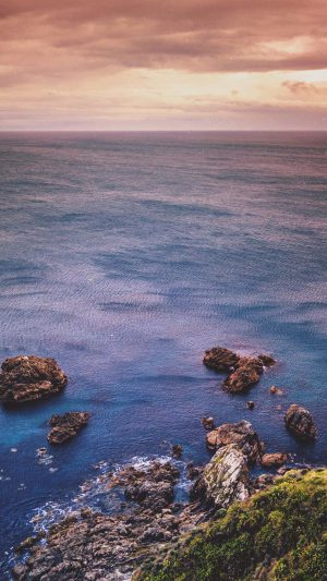 Cliff Sea Ocean Rock Nature Blue iPhone 8 wallpaper