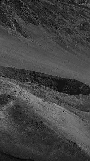 Crater Mountain Dark Bw Nature iPhone 8 wallpaper