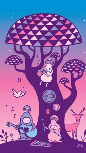 Cute Music Characters Illustration Art iPhone 8 wallpaper