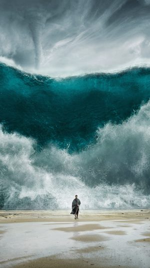 Exodus Wave Sea Art Film Illust iPhone 8 wallpaper