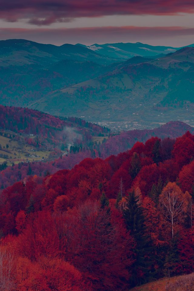 Fall Mountain Fun Red Tree Nature Dark Beautiful Iphone 8 Wallpaper Iphone8wallpapers Com