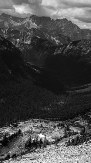 Great Mountain View Dark Bw Nature iPhone 8 wallpaper