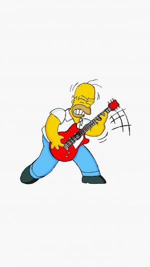 Homer Simpson Music White Illustration Art iPhone 8 wallpaper