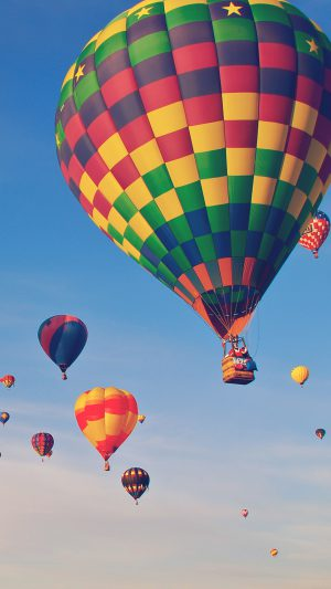Hot Air Balloon Party Nature Sky iPhone 8 wallpaper