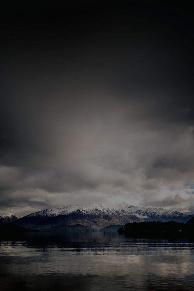 Lake Dark Mountain And Sky Nature iPhone wallpaper