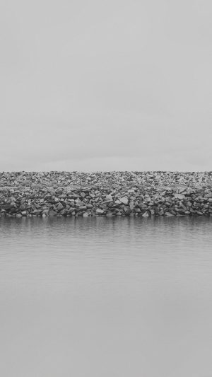 Lake Stone Minimal Nature Jake Dark Bw iPhone 8 wallpaper
