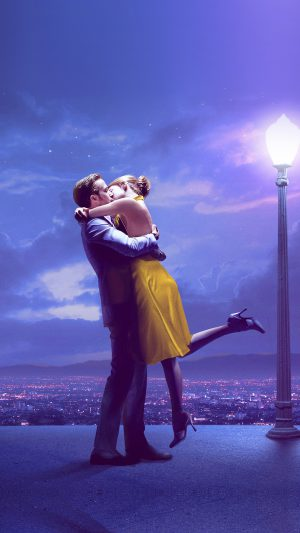 Lalaland Film Love Illustration Art Purple iPhone 8 wallpaper