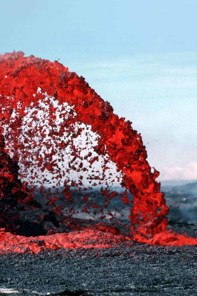 Lava Volcanic Magma Red Nature Fire Danger Mountain iPhone wallpaper