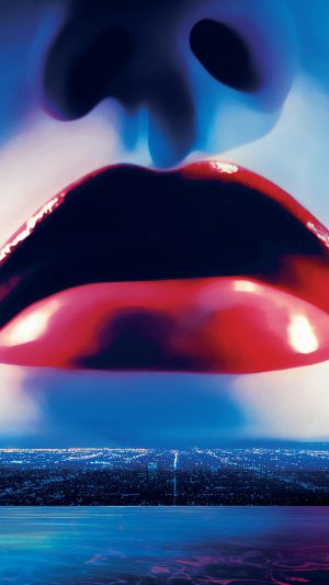 Lips Poster Film Neon Demon Red Blue Art Illustration iPhone 8 wallpaper